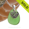 A PERFECT piece of Vivid Green genuine sea glass with a solid sterling bail and MOM charm. This piece comes complete with our sterling 1MM snake chain.