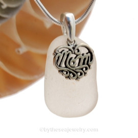 A PERFECT piece of Pure White genuine sea glass with a solid sterling bail and MOM charm. This piece comes complete with our sterling 1MM snake chain.