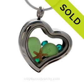 May Beachlover - Genuine Green Sea Glass, Starfish & Gems  - Heart Locket