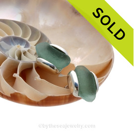 Reserved For Boben - Customer Supplied Sea Glass Sterling Cufflinks