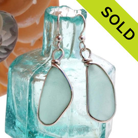 Large and Long Pale  Aqua beach found Sea Glass Earrings set in our signature Original Wire Bezel© setting in silver. SOLD - Sorry these Rare Sea Glass Earrings are NO LONGER AVAILABLE!