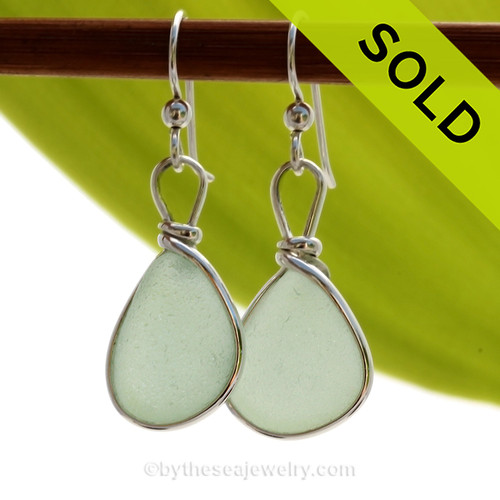 Seafoam Green beach found Sea Glass Earrings set in our signature Original Wire Bezel© setting in silver. SOLD - Sorry these Sea Glass Earrings are NO LONGER AVAILABLE!