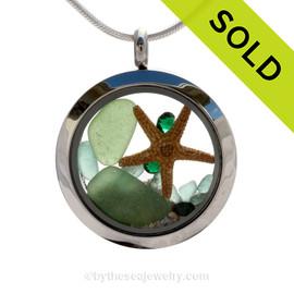 A Tropical May - Genuine Green Sea Glass, Starfish, Aqua Bits & Gems  - Locket Necklace