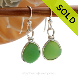 Vivid Jadeite Green Sterling English Earrings Sea Glass Sterling Wire Bezel©
