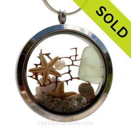 Slice of the Sea  - Seafoam Green Sea Glass & Pearls,Seafan, Starfish and Beach Sand - JUMBO 35MM Locket