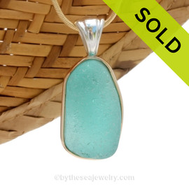 This is a beautiful Vivid Bright Aqua Blue Sea Glass set in our Mixed Deluxe Tiffany Wire Bezel© pendant setting . SOLD - Sorry this Rare Sea Glass Pendant is NO LONGER AVAILABLE!