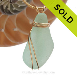 A stunning longer piece of vivid sea water green sea glass in a large necklace pendant. SOLD - Sorry this Sea Glass Pendant is NO LONGER AVAILABLE!