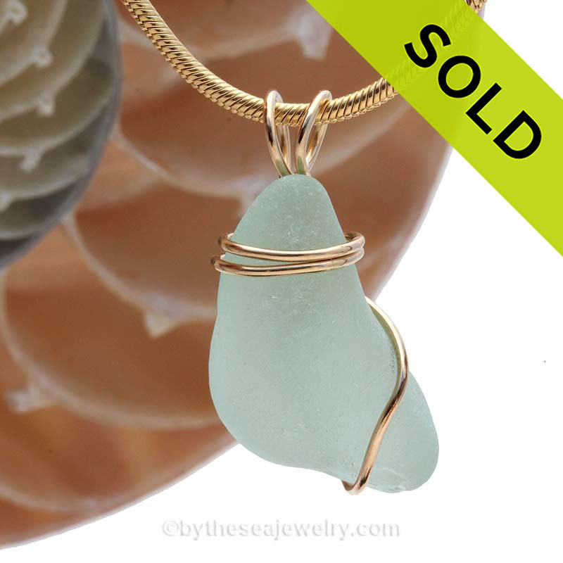 Small Simple Sea Water Green Genuine Sea Glass In Goldfilled