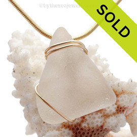 A perfect piece of TOP QUALITY curvy white sea glass set in our simple setting in 14K Rolled Gold. SOLD - Sorry this Sea Glass Pendant is NO LONGER AVAILABLE!