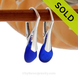 Petite Genuine Blue Sea Glass Earrings on Sterling Leverback Earrings SOLD - Sorry these Rare Sea Glass Earrings are NO LONGER AVAILABLE!