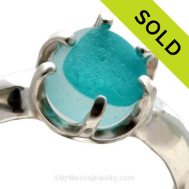 A spectacular piece of Vivid Aqua Mixed English Sea Glass set in a sturdy 6 prong Solid Sterling ring setting. SOLD - Sorry this Ultra Rare Sea Glass Ring is NO LONGER AVAILABLE!