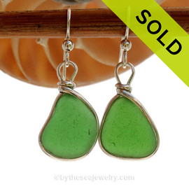 Vivid Mermaids Emeralds in Green Glowing Sea Glass Earrings set in our Original Wire Bezel  Setting lets all the beauty of these beauties shine!  SOLD - Sorry these Sea Glass Earrings are NO LONGER AVAILABLE!