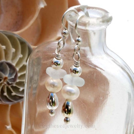 Genuine White Sea Glass Earrings with sterling details and AAA grade pearls on solid sterling earrings.