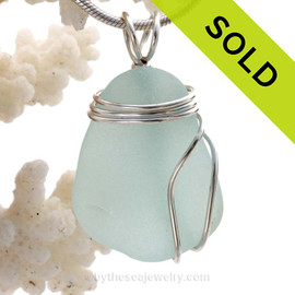 A Pale Aqua Blue  Sea Glass Pendant set in a secure triple Sterling Silver Setting. SOLD - Sorry this Rare Sea Glass Pendant is NO LONGER AVAILABLE!