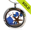 A BEAUTIFUL sliver of Natural Cobalt Blue sea glass locket necklace with a real starfish and Vivid Sapphire Crystal Gems. SOLD - Sorry this Sea Glass Locket is NO LONGER AVAILABLE!