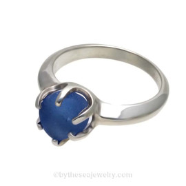 Medium Blue English Sea Glass Ring in Solid Sterling Silver