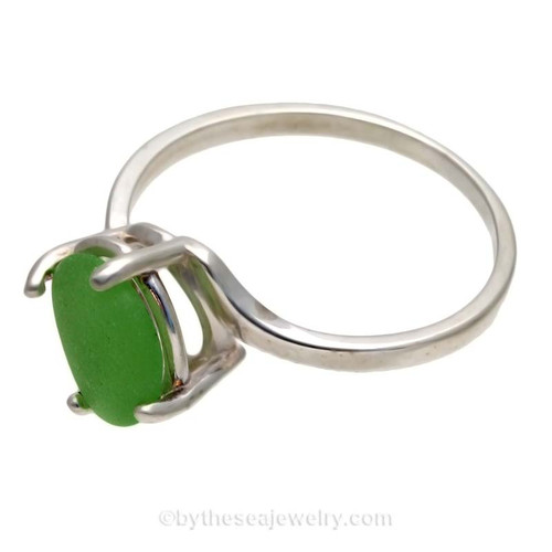 A stunning simple green sea glass ring perfect for any sea glass lover!