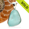 This is a LARGE Crizzled and Dimpled Aqua Blue Sea Glass set in our Original Wire Bezel© pendant setting in Sterling Silver. SOLD - Sorry this Rare Sea Glass Jewelry Piece is NO LONGER AVAILABLE!