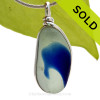 This is a LARGE Mixed Blue English Multi Sea Glass Pendant for a necklace in our Original Sea Glass Bezel© in solid sterling silver setting. SOLD - Sorry this Rare Sea Glass Pendant is NO LONGER AVAILABLE!