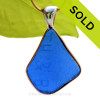 B-E-A-U-T-I-F-U-L Embossed Bright Cobalt Blue Sea Glass In Tiffany Deluxe Wire Bezel© Necklace Pendant.