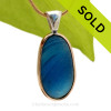 This amazing Blue multi sea glass piece is versatile in a mixed metal Deluxe Wire Bezel© pendant setting. SOLD - Sorry this Ultra Rare Sea Glass Pendant is NO LONGER AVAILABLE!!