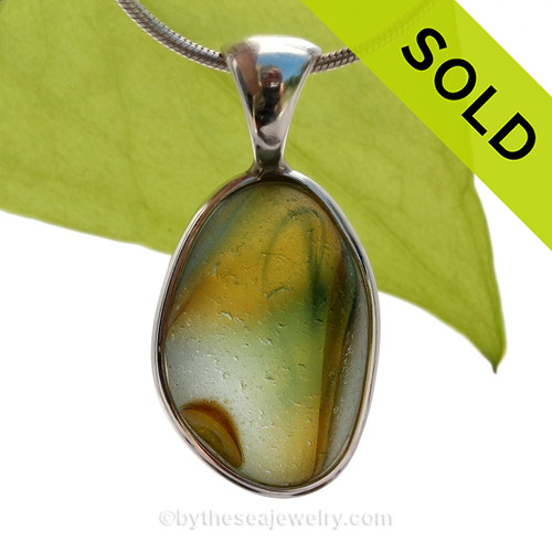Golden Dreamz -  Mixed Golden Yellow & Green Super Ultra Rare English Sea Glass Pendant In Sterling Deluxe Wire Bezel© SOLD - Sorry this Rare Sea Glass Pendant is NO LONGER AVAILABLE!