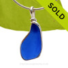A neat naturally shaped piece of Cobalt Blue Genuine Sea Glass with in our signature Original Wire Bezel© pendant setting in Sterling Silver. SOLD - Sorry this Rare Sea Glass Pendant is NO LONGER AVAILABLE!