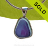 A Lovely Small Mixed Light Blue and Purple Seaham multi sea glass set in Sold Sterling Silver Deluxe Wire Bezel© pendant setting. SOLD - Sorry this Rare Sea Glass Pendant is NO LONGER AVAILABLE!