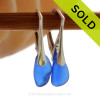 Petite Genuine Cobalt Blue  Beach Found Sea Glass Earrings on Sterling Leverback Earrings. SOLD - Sorry these Rare Sea Glass Earrings are NO LONGER AVAILABLE!