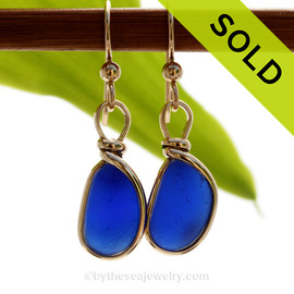 Our By The Sea Jewelry Original Wire Bezel setting makes these cobalt blue earrings a stunning choice for any sea glass lover! SOLD - Sorry these Rare Sea Glass Earrings are NO LONGER AVAILABLE!
