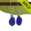 Petite Thick Vivid Cobalt Blue Sea Glass Earrings in our Original Wire Bezel© Sterling Silver setting. SOLD - Sorry these Rare Sea Glass Earrings are NO LONGER AVAILABLE!