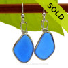 Genuine Bright Blue Larger Sea Glass Earrings in our Original Wire Bezel© Sterling Silver setting. SOLD - Sorry these Rare Sea Glass Earrings are NO LONGER AVAILABLE!