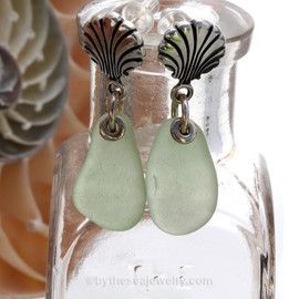 Beautiful airy Seafoam Green Se Glass Earrings on Solid Sterling Shell posts.