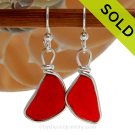 TOP QUALITY Bright Rare Ruby Red Genuine Sea Glass in our classic set our Original Wire Bezel© earring setting. SOLD - Sorry these Rare Sea Glass Earrings are NO LONGER AVAILABLE!