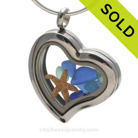 Tropical September -  Genuine Cobalt & Aqua Sea Glass and Starfish Stainless Heart Locket