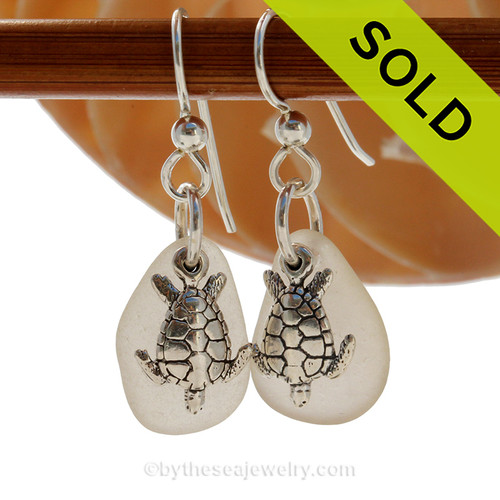 Perfect white Genuine Sea Glass Earrings in sterling with Solid Sterling Silver Sea Turtle charms. SOLD - Sorry these Sea Glass Earrings are NO LONGER AVAILABLE!