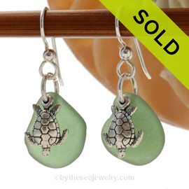 Perfect Seaweed Green Genuine Sea Glass Earrings in sterling with Solid Sterling Silver Sea Turtle charms. SOLD - Sorry these Sea Glass Earrings are NO LONGER AVAILABLE!!!!