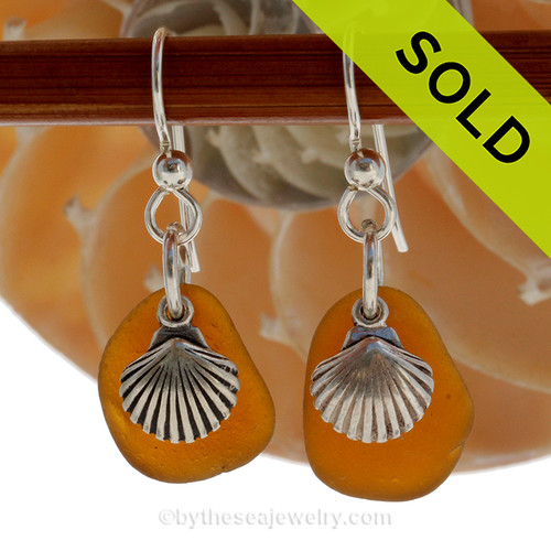 Perfect brown Genuine Sea Glass Earrings combined with Solid Sterling Sea Shell charms. SOLD - Sorry these Rare Sea Glass Earrings are NO LONGER AVAILABLE!