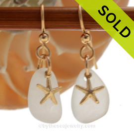 Sea Charmed - Pure White Sea Glass Earrings On 14K Goldfilled Starfish Charms