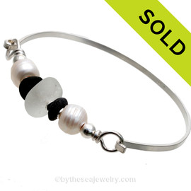 Pure White Genuine White Sea Glass, LARGE Cultured Pearls & Beach Stones on this solid sterling silver thin Sea Glass Bangle Bracelet. This is finished in solid sterling beads. SOLD - Sorry this Sea Glass Bangle Bracelet is NO LONGER AVAILABLE!