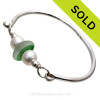 Mixed Spring Green English Flashed Sea Glass combined with real cultured pearls on this Solid Sterling Silver Full round Sea Glass Bangle Bracelet. SOLD - Sorry this Sea Glass Bangle Bracelet is NO LONGER AVAILABLE!