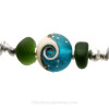 A detail of this Sea Glass Bracelet and the beautiful handmade bead.