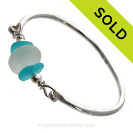 Perfect Pure White and aqua English Sea Glass combined on this Solid Sterling Silver Full round Sea Glass Bangle Bracelet. SOLD - Sorry this Sea Glass Bangle Bracelet is NO LONGER AVAILABLE
