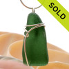 Rich Deep green well aged Genuine Sea Glass Pendant set in Solid Sterling Silver Side Wrap.