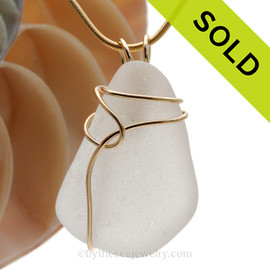 A perfect Pure White Sea Glass In Simple 14K Rolled Gold Basic Beach Wrapped Necklace Pendant. This setting leaves the sea glass piece UNALTERED but secure in an attractive setting. SOLD - Sorry this Sea Glass Pendant is NO LONGER AVAILABLE!