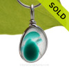 A Lovely Petite Mixed Vivid Teal Green and Pure White Seaham multi sea glass set in Sold Sterling Silver Deluxe Wire Bezel© pendant setting. SOLD - Sorry this Rare Sea Glass Pendant is NO LONGER AVAILABLE!