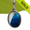 A Lovely Petite Mixed Electric Aqua and White Seaham multi sea glass set in Sold Sterling Silver Deluxe Wire Bezel© pendant setting. SOLD - Sorry this Rare Sea Glass Pendant is NO LONGER AVAILABLE!