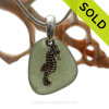 Simple peridot green Sea Glass Necklace with Beach found green sea glass and solid sterling silver seahorse charm and Solid Sterling Silver Snake chain. SOLD - Sorry this Sea Glass Necklace is NO LONGER AVAILABLE!