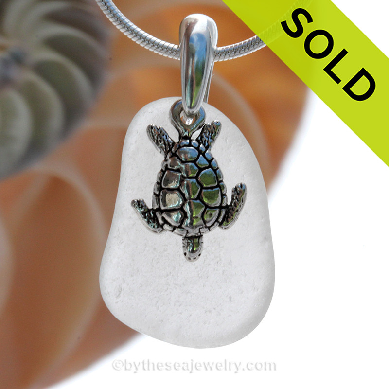 88d29dd584b47 Pure White Sea Glass Necklace with Sea Turtle Charm - 18