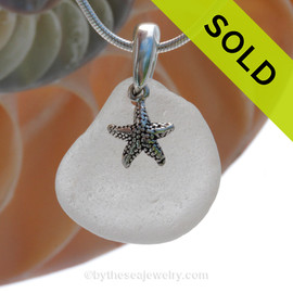 Pure Bright White Sea Glass Necklace with Beach found sea glass and solid sterling silver sea star charm and Solid Sterling Silver Snake chain. SOLD - Sorry this Sea Glass Necklace is NO LONGER AVAILABLE!